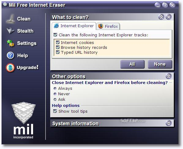 .Mil Free Internet Eraser Screenshot 3