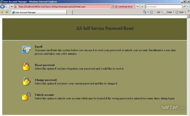 JiJi Self Service Password Reset Screenshot