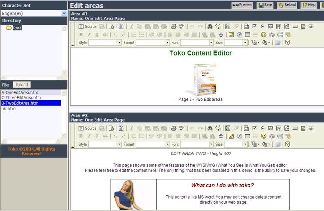 TOKO contented editor Screenshot