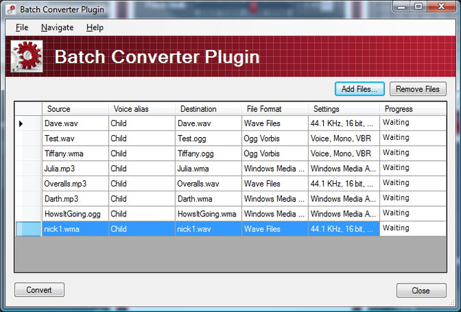 Batch Converter Plug-In for MorphVOX Pro Screenshot