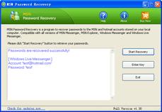 MSN Password Recovery Screenshot