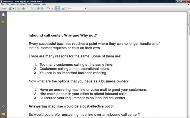 Inbound Call center Profit Book Screenshot