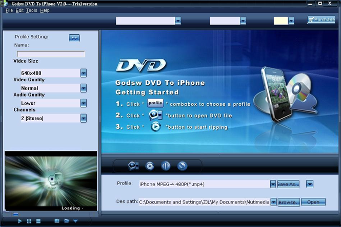 Godsw DVD to iPhone Screenshot 1
