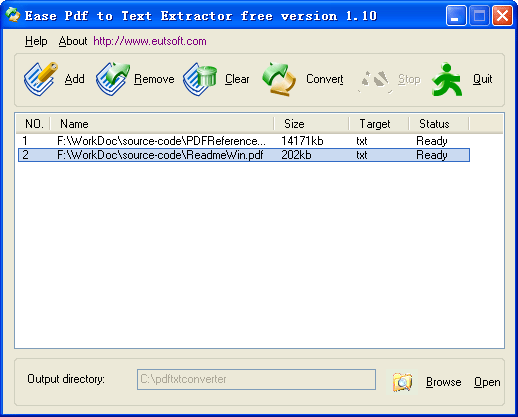 Ease Pdf to Text Extractor Screenshot