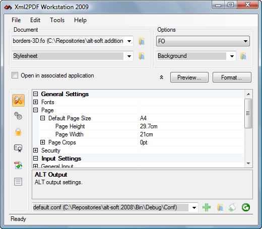 Altsoft Xml2PDF Workstation 2009 Screenshot