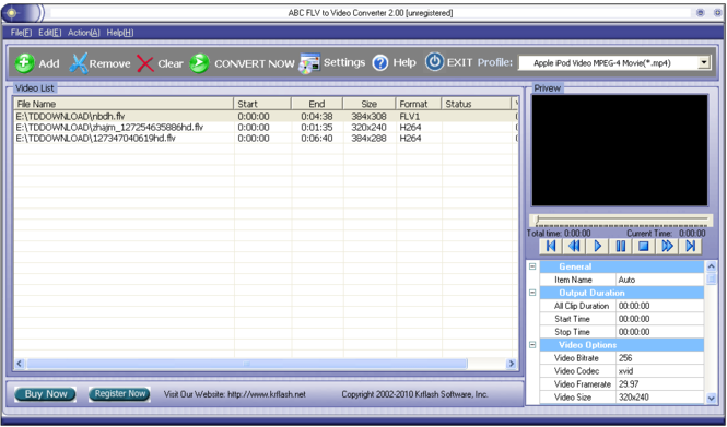 ABC FLV to Video Converter Screenshot