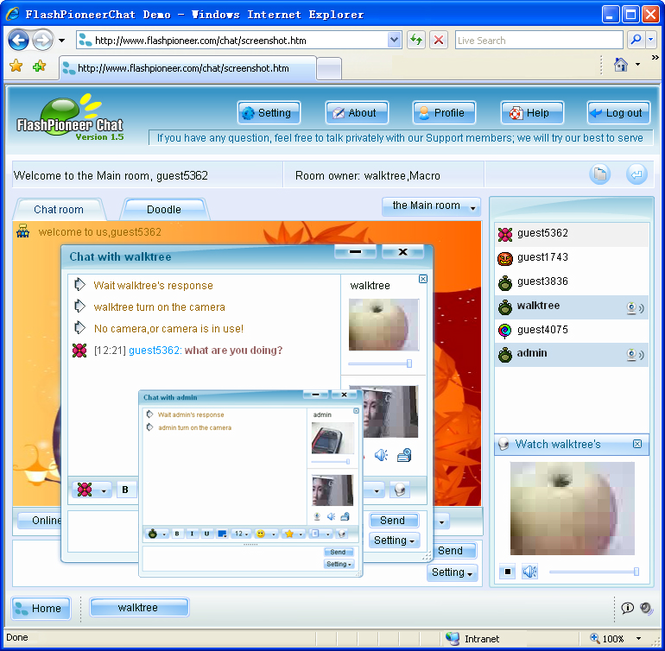 FlashPioneer Video Chat Screenshot