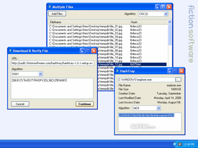 FictionSoftware HashTray Screenshot 1