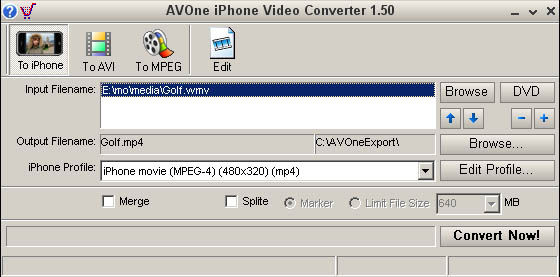AVOne iPhone Video Converter Screenshot