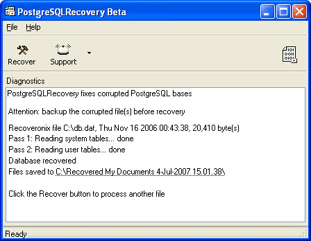 Recovery for PostgreSQL Screenshot