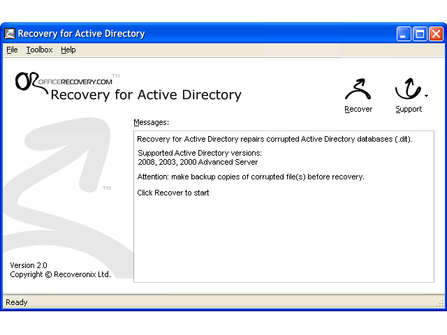 Recovery for ActiveDirectory Screenshot