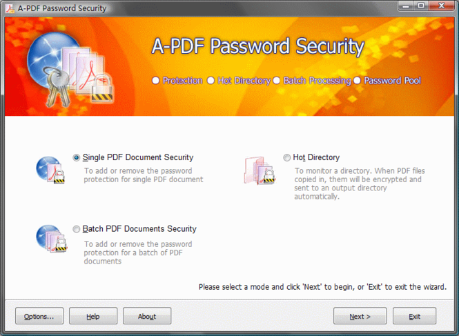 A-PDF Password Security Screenshot 1