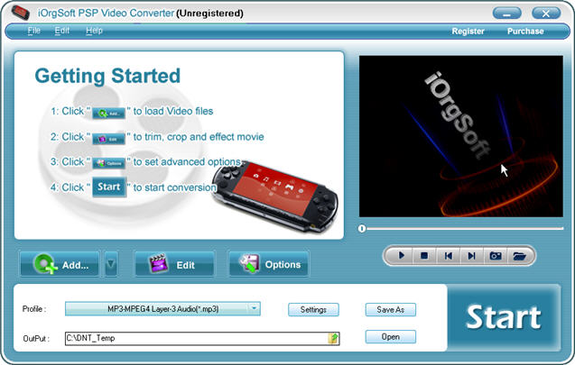 iOrgSoft PSP Video Converter Screenshot