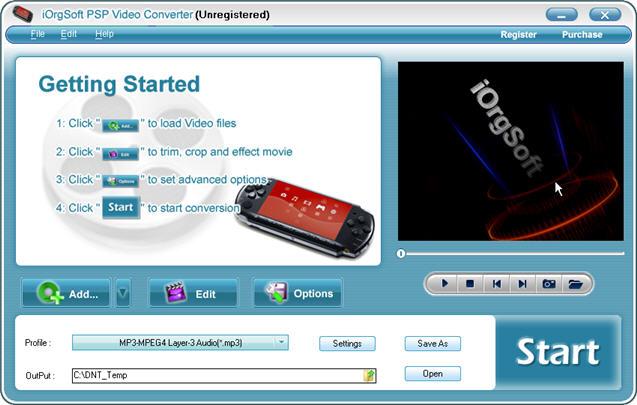 iOrgSoft PSP Video Converter Screenshot 1