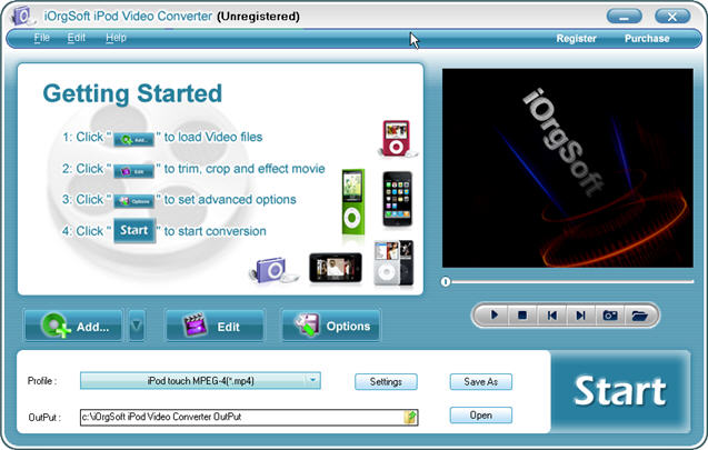 iOrgSoft iPod Video Converter Screenshot