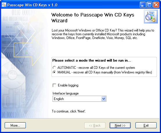 Passcape Win CD Keys Screenshot