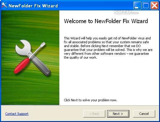 Newfolder Fix Wizard Screenshot 3