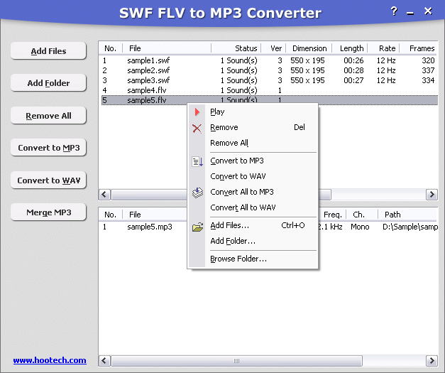 SWF FLV to MP3 Converter Screenshot 1