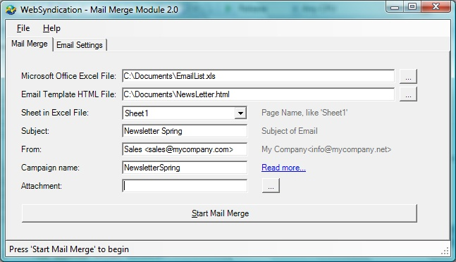 WebSyndication Mail Merge Module Screenshot 1