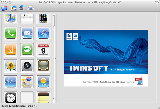 iWinSoft PDF Images Extractor for Mac Screenshot