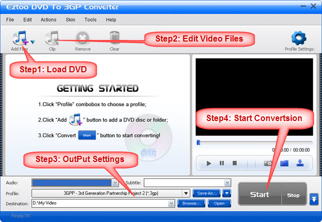 Eztoo DVD To 3GP Converter Screenshot 1