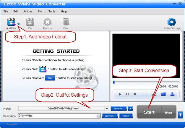Eztoo WMV Video Converter Screenshot 1