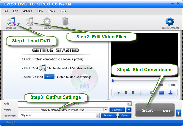 Eztoo DVD To MPEG Converter Screenshot