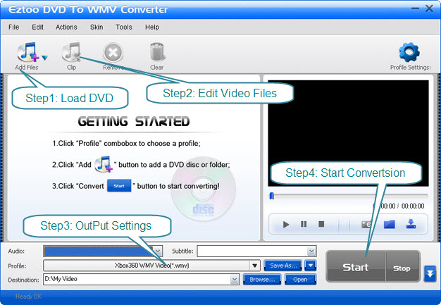 Eztoo DVD To WMV Converter Screenshot 1