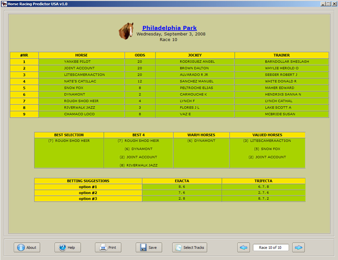 Horse Racing Predictor USA Screenshot 1