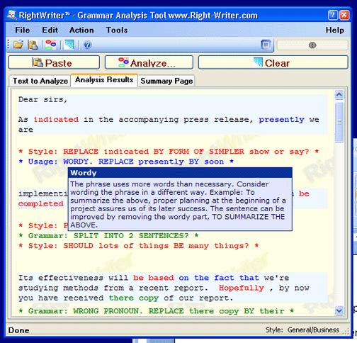 RightWriter Grammar Analysis Screenshot 1