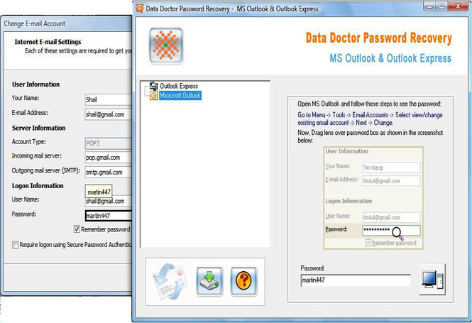Outlook Login Identity Recovery Tool Screenshot