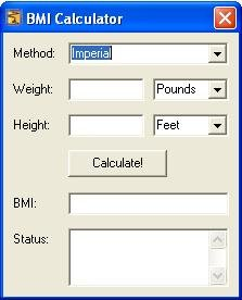 Body Mass Index BMI Calculator Screenshot