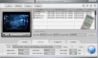 Alldj iPhone iPod Apple-TV Video Converter Screenshot 1