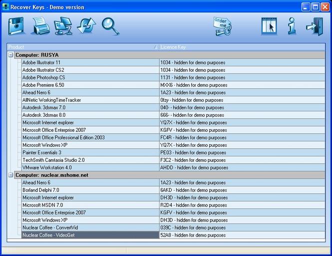 Recover Keys Basic Screenshot