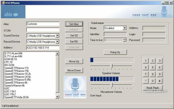 Voice over IP H323 SDK Screenshot