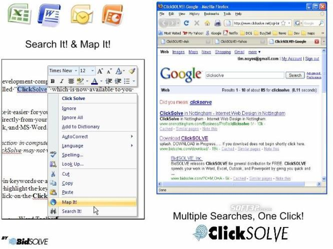 Office Internet Web Search Add-in: ClickSolve Screenshot 3