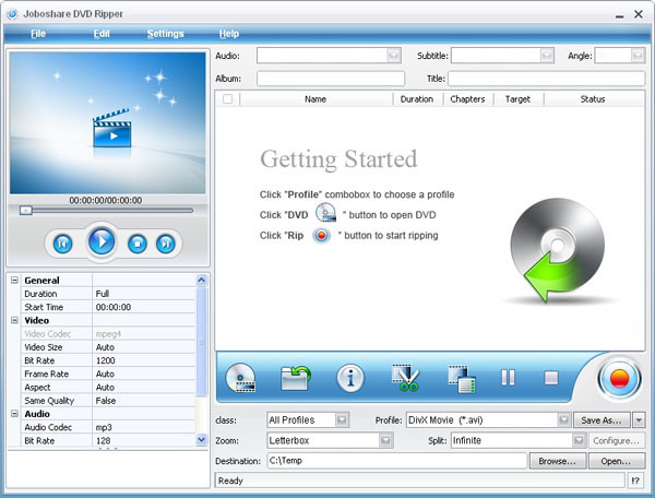 Joboshare DVD Ripper Screenshot