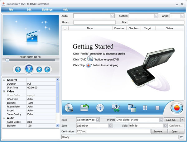 Joboshare DVD to DivX Converter Screenshot