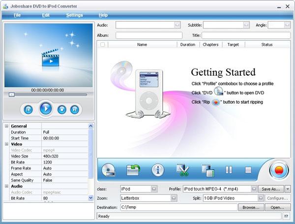 Joboshare DVD to iPod Converter Screenshot
