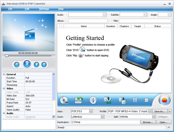 Joboshare DVD to PSP Converter Screenshot