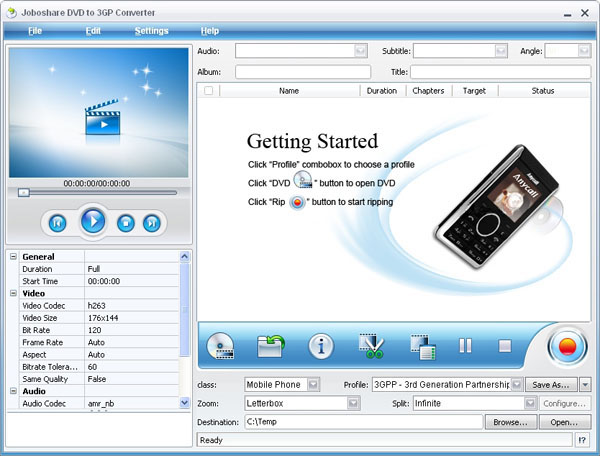 Joboshare DVD to 3GP Converter Screenshot 1
