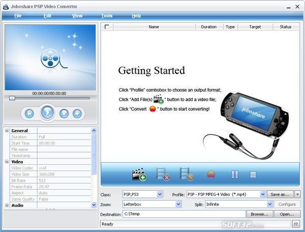 Joboshare PSP Video Converter Screenshot 3