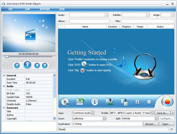 Joboshare DVD Audio Ripper Screenshot