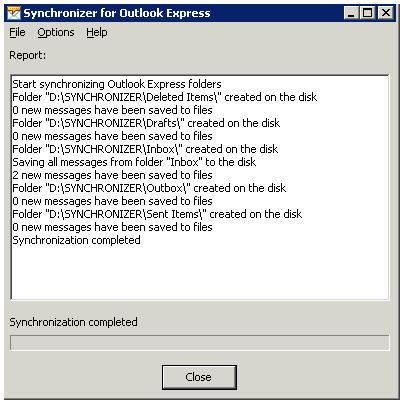 Synchronizer for Outlook Express Screenshot