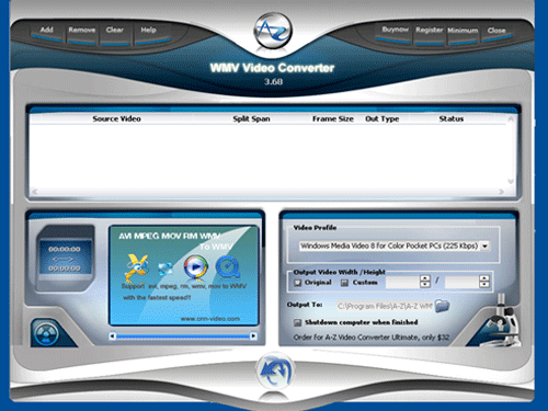 A-Z WMV Video Converter Screenshot