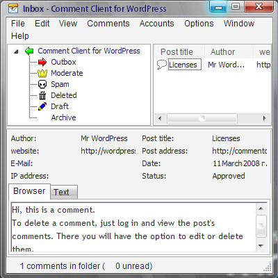 Comment Client for WordPress Pro Screenshot 1