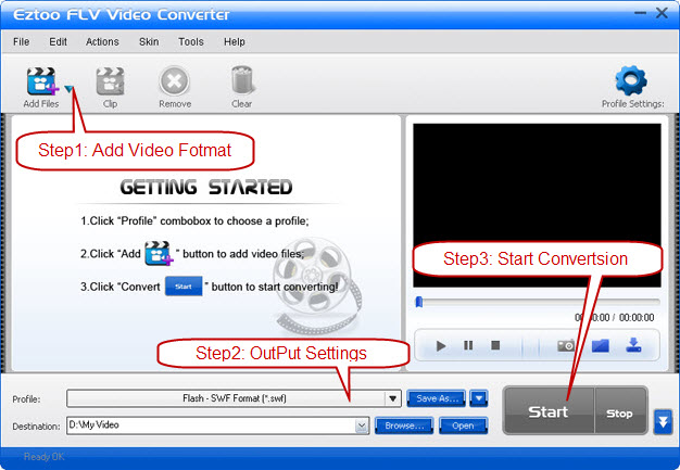 Eztoo FLV Video Converter Screenshot 1