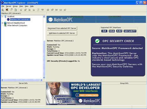 Matrikon OPC Explorer Screenshot