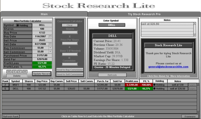 Stock Research Lite Screenshot