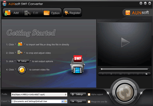 Aunsoft SWF Converter Screenshot